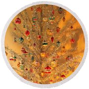 An Old Fashioned Christmas - Aluminum Tree Round Beach Towel by Suzanne Gaff