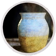An Old Pot In Vintage Background Round Beach Towel