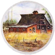 An Old Red Barn Round Beach Towel