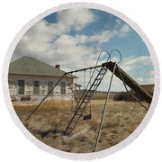 An Old School Near Miles City Montana Round Beach Towel