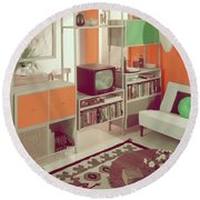 An Orange Living Room Round Beach Towel