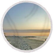 An Ordinary Summer Day Begins Round Beach Towel