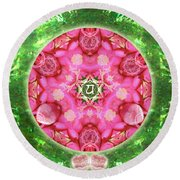 Anahata Rose Round Beach Towel