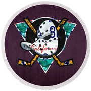 Anaheim Ducks Hockey Team Retro Logo Vintage Recycled California License Plate Art Round Beach Towel by Design Turnpike