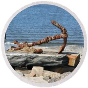Round Beach Towel featuring the photograph Anchor by Karen Silvestri