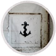 Round Beach Towel featuring the photograph Anchor On Old Door by Kathy Barney