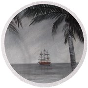 Round Beach Towel featuring the painting Anchored For The Night by Virginia Coyle