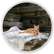 Ancient Agora Kitty Round Beach Towel