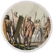 Ancient Celtic Warriors Dressed Round Beach Towel