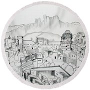 Round Beach Towel featuring the drawing Ancient City In Pen And Ink by Janice Rae Pariza