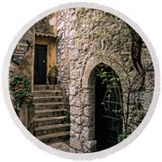 Ancient Cobblestone Home, France Round Beach Towel