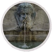 Ancient Fountain Round Beach Towel