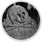 Ancient Gravestone Round Beach Towel