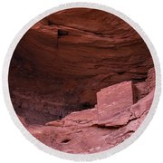 Ancient Indian Dwellings   Round Beach Towel