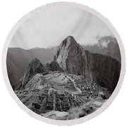 Ancient Machu Picchu Round Beach Towel
