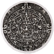 Aztec Sun God Round Beach Towel