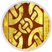 Ancient Ornamental Celtic Design Round Beach Towel