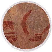 Ancient Pictograph Round Beach Towel