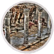 Round Beach Towel featuring the photograph Ancient Roman Columns In Israel by Doc Braham