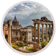Ancient Roman Forum Ruins - Impressions Of Rome Round Beach Towel