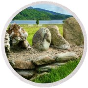 Ancient Stone Wall At Loch Achray Round Beach Towel