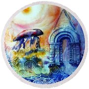 Round Beach Towel featuring the painting  Ancient Stones Of Ireland No 2.  by Trudi Doyle