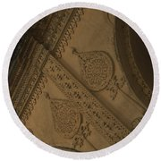 Round Beach Towel featuring the photograph Ancient Wall by Mini Arora