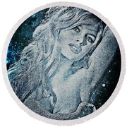 And God Created Woman Round Beach Towel by Absinthe Art By Michelle LeAnn Scott