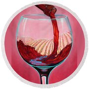 Round Beach Towel featuring the painting ...and Let There Be Wine by Sandi Whetzel