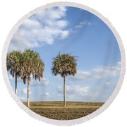 And Then There Were Three... Round Beach Towel