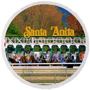 And They're Off At Santa Anita Round Beach Towel by Nadalyn Larsen
