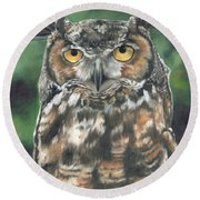 Round Beach Towel featuring the painting And You Were Saying by Lori Brackett