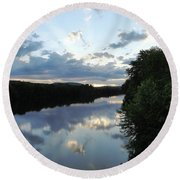 Androscoggin River Reflections Round Beach Towel