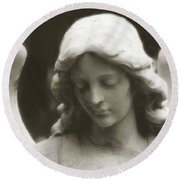 Angel Art - Ethereal Dreamy Angel Guardian Angel - Face Of An Angel Round Beach Towel