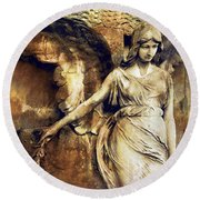 Angel Art - Surreal Gothic Angel Art Photography Dark Sepia Golden Impressionistic Angel Art Round Beach Towel by Kathy Fornal