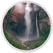Round Beach Towel featuring the photograph Angel Falls In Venezuela by Dave Welling