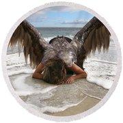 Angel- I Feel Your Sorrow  Round Beach Towel