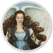 Angel In A Blue Dress Round Beach Towel