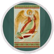 Angel In Green Slippers Round Beach Towel