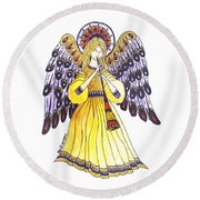 Angel In Horns Section Round Beach Towel