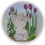 Round Beach Towel featuring the painting Angel In The Garden by Sharon Schultz