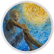Angel Moon II Round Beach Towel
