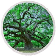 Angel Oak Round Beach Towel by Allen Beatty