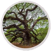 Angel Oak Tree Round Beach Towel by Dale Powell