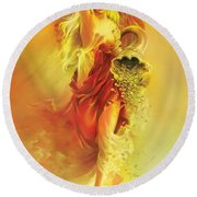 Angel Of Abundance - Fortuna Round Beach Towel