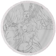 Angel Of God Struggle Round Beach Towel