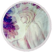 Angel Of Mercy 2 Round Beach Towel by Leanne Seymour