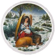 Angel Of Peace Round Beach Towel