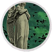 Round Beach Towel featuring the photograph Angel Of Stone by David Dehner