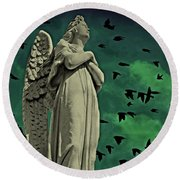 Angel Of Stone Round Beach Towel